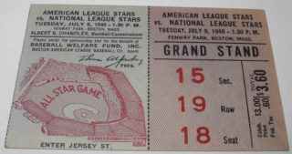 1946 MLB All Star Game ticket from Fenway Park