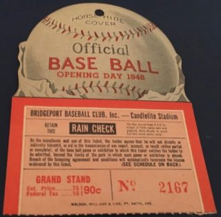 1948 Poughkeepsie Chiefs at Bridgeport Bees ticket stub