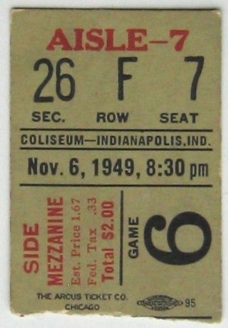 1949 AHL St Louis Flyers at Indianapolis Capitals Ticket Stub