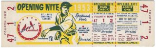 1953 MLB Cubs at Cardinals Full Ticket