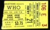 1968 The Who San Jose Civic Auditorium ticket stub