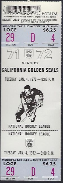 1972 NHL Seals at Kings
