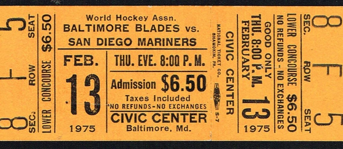 1975 WHA San Diego Mariners at Baltimore Blades ticket stub