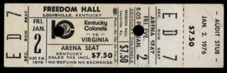 1976 ABA Virginia Squires at Kentucky Colonels ticket
