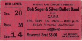 1978 Bob Seger and the Cars ticket stub