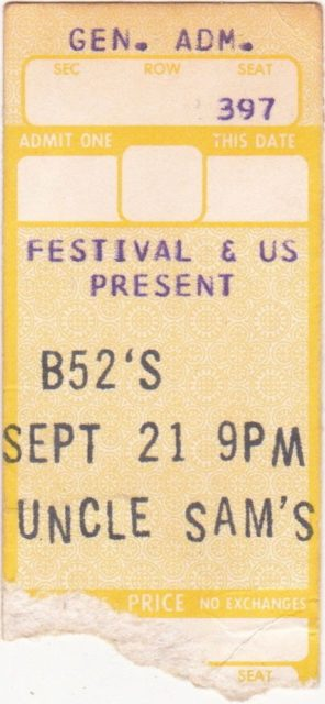 1980 B-52's ticket stub from Uncle Sam's in Buffalo