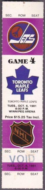 1981 NHL Maple Leafs at Jets