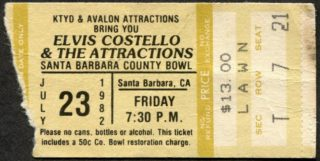 1982 Elvis Costello concert ticket stub Santa Barbara