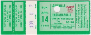1985 American Association Indianapolis Indians at Louisville Redbirds