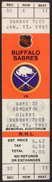 1985 Wayne Gretzky 400th Goal Full Ticket Buffalo vs Edmonton