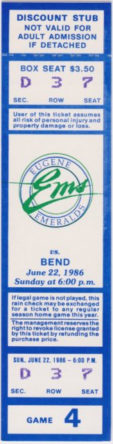 1986 Eugene Emeralds season ticket vs Bend Phillies