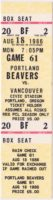 1986 Pacific Coast League Vancouver Canadians at Portland Beavers ticket stub