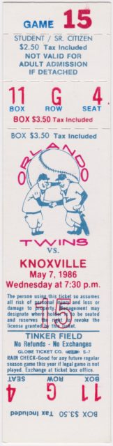 1986 Southern League Knoxville Blue Jays at Orlando Twins ticket stub