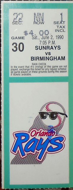 1990 Southern League Birmingham Barons at Orlando Sunrays