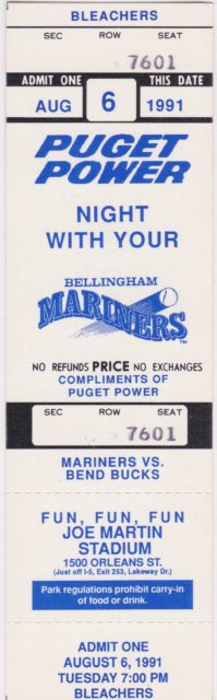 1991 Bellingham Mariners season ticket vs Bend Bucks