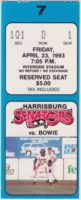 1993 Harrisburg Senators ticket stub vs Bowie Baysox