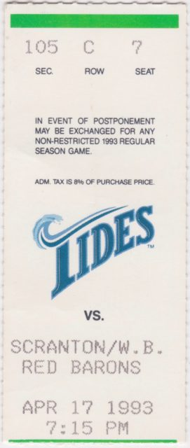 1993 International League Scranton Wilkes Barre Red Barons at Tidewater Tides