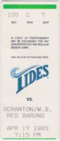 1993 Norfolk Tides ticket stub vs Red Barons