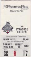 1993 Ottawa Lynx ticket stub vs Syracuse Chiefs