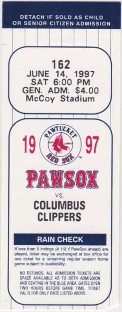1997 International League Columbus Clippers at Pawtucket Red Sox