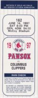 1997 Pawtucket Red Sox ticket stub vs Columbus