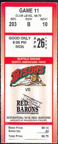 1999 Buffalo Bisons ticket stub vs Red Barons