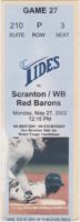 2002 Norfolk Tides ticket stub vs Red Barons