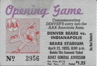 1955 American Association Indianapolis Indians at Denver Bears