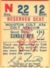1962 MLB Phillies at Colt 45's ticket stub