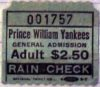 1987 Prince William Yankees ticket stub