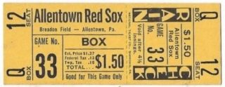 1950's Eastern League Allentown Red Sox ticket stub