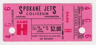 Spokane Jets hockey ticket stub