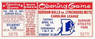 1981 MiLB Lynchburg Mets at Durham Bulls ticket stub