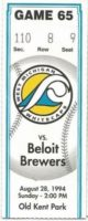 1994 West Michigan Whitecaps ticket stub vs Beloit Brewers