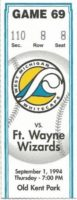 1994 West Michigan Whitecaps ticket stub vs Ft. Wayne Wizards