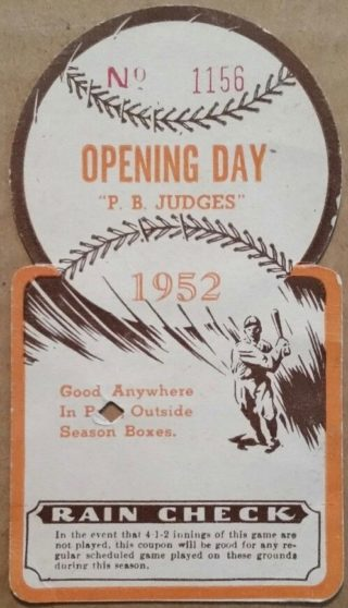 1952 MiLB Pine Bluff Judges opening day ticket stub