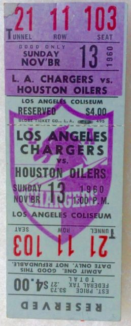 1960 AFL Inaugural Season Houston Oilers at Los Angeles Chargers Full Ticket