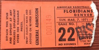 1971 ABA Nuggets at Floridians