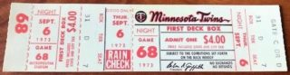 1973 MLB White Sox at Twins full ticket
