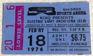 1976 Electric Light Orchestra Ticket Stub San Diego