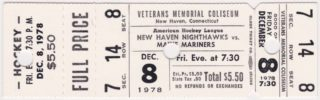 1978 New Haven Nighthawks ticket stub vs Maine