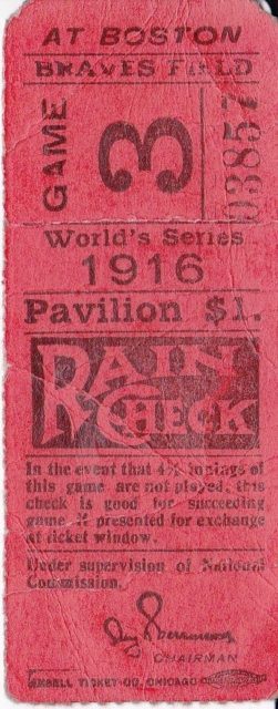 1916 World Series Game 3 Dodgers at Red Sox
