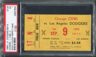 1965 Sandy Koufax Perfect Game ticket stub vs Cubs