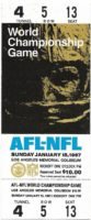 1967 AFl-NFL Championship Game Ticket Full Ticket 1st Super Bowl