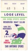 1975 ABA San Diego Sails ticket stub vs Spurs