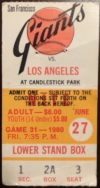 1980 Jerry Reuss no hitter ticket stub Los Angeles Dodgers at San Francisco Giants