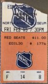1980 Wayne Gretzky 7 Assist Ticket Stub NHL Capitals at Oilers