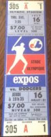 1981 MLB Dodgers at Expos Unused Season Ticket