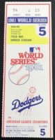 1981 World Series Game 5 ticket stub Yankees at Dodgers