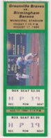 1984 Greenville Braves ticket stub vs Birmingham Barons